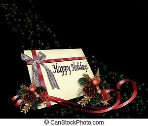 karácsonyi ajándék, kártya, piros, gyeplő