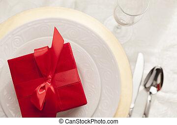 karácsonyi ajándék, noha, felad letesz, asztal