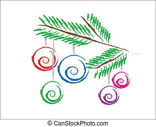 karácsonyi díszek, képben látható, a, fa