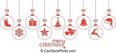 karácsonyi díszek, piros