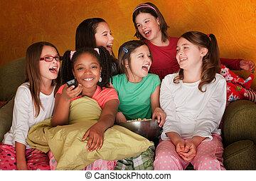 karóra, lány, kevés, csoport, televízió