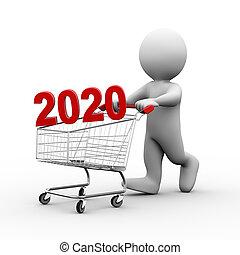 kar, 3d, man, winkelend wagentje, 2020