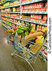 kar, in, een, supermarkt