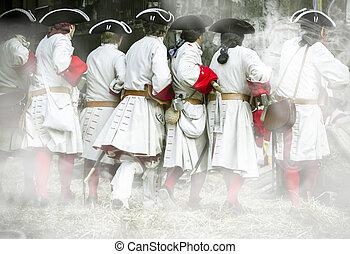 karabély, zakó, közben, re-enactment, katona, nyugat