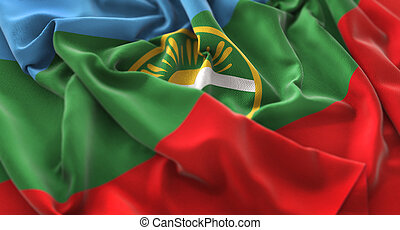 Karachay-Cherkessia Flag Ruffled Beautifully Waving Macro...