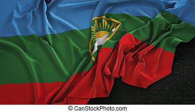 Karachay-Cherkessia Flag Wrinkled On Dark Background 3D...
