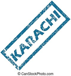 Karachi rubber stamp - Vector blue rubber stamp with city...