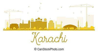 karachi, skyline città, dorato, silhouette.