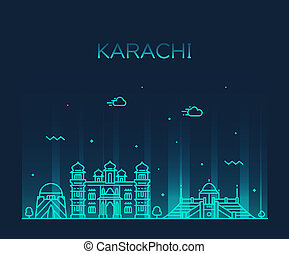 Karachi skyline Pakistan vector linear style city - Karachi...