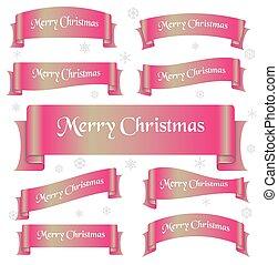 karafiát, lesklý, barva, merry christmas, heslo, oblý, lem, standarta, eps10