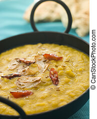 Karai Dish of Tarka Dhal with Naan Bread