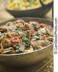 Karai Dish with Lamb Methi Gosht and Vegetable Pilau