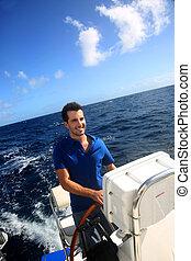 karaibski, żeglując, młody, marynarz, morze, uśmiechanie się
