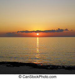 karaibski, kuba, na, la, gorda, pinar, rio, del, morze, zachód słońca, prowincja, maria
