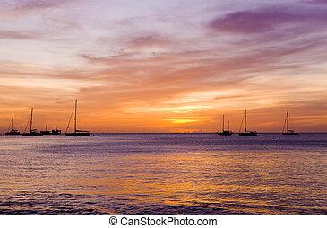 karaibski, na, morze, zatoka, zachód słońca, wielki, grenada, anse