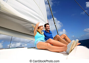 karaibski, para, radosny, morze, krążąc po morzach, katamaran