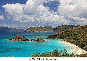 karaibski, turkus, caribbean., landscapes., turquo, naprawdę, na, ocean, dziewica, raj, wyspy, śliczny, paradise-like