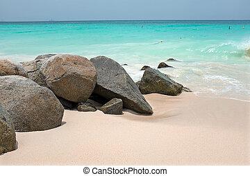 karaibski, wyspa, trzęsie się, aruba, morze, plaża, piaszczysty