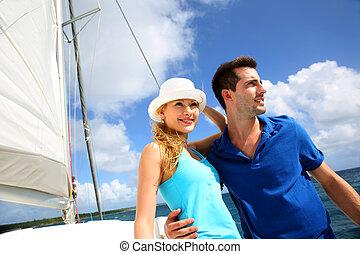 karaibskie morze, żaglówka, para, młody, bogaty, uśmiechanie się
