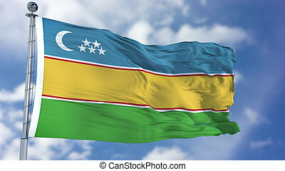 Karakalpakstan Flag in a Blue Sky