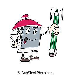 karakter, aantekenboekje, pen, vector, illustratie, vasthouden, mascotte