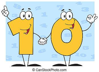 karakter, antal, ti, cartoon