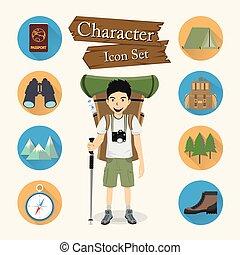 karakter, backpacker, pictogram, set, vector