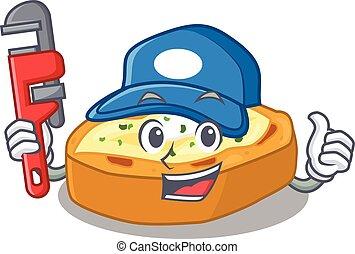 karakter, bakt, ontwerp, aardappels, werktuig, installatiebedrijf, smart, spotprent