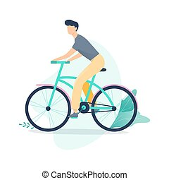 karakter, bike., vrouwlijk, paardrijden, meisje, vrolijke