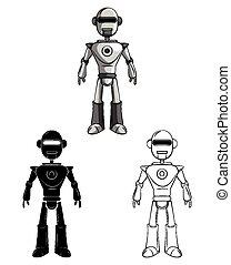 karakter, bog, coloring, robot