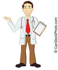 karakter, cartoon, doktor