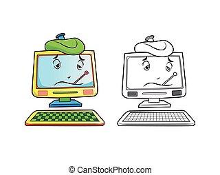 karakter, coloring, computer, sider, syg