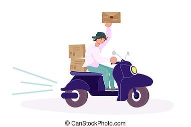 karakter, courier, scooter