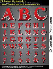 karakter, emboss, set, rood