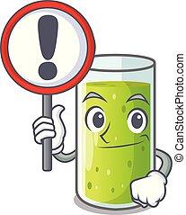karakter, groene, meldingsbord, sap, komkommer, fris