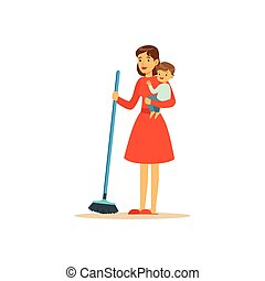 karakter, gulv, fejebue, mor, barn, super