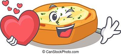 karakter, hart, gebakken aardappels, zoet, stijl, spotprent