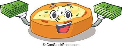 karakter, hebben, gebakken aardappels, geld, rijk, spotprent, handen