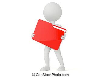 karakter, humanoid, bestand directory, houden, 3d