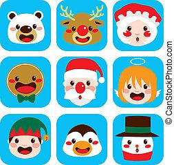 karakter, kerstmis, gezichten