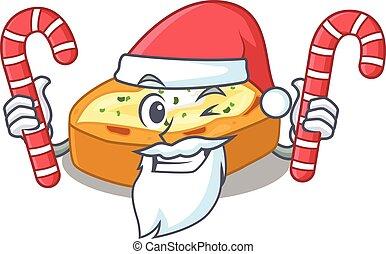 karakter, kerstmis, vriendelijk, gebakken aardappels, kerstman, suikergoed, houden, spotprent