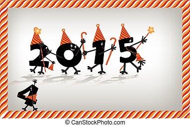 karakter, kvæld, år, vektor, 2015, nye, komisk