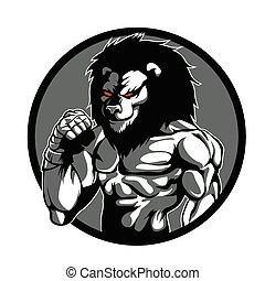 karakter, man, mma, leeuw, vechter