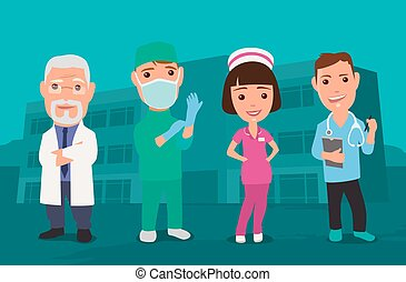 karakter, mannelijke , arts, faemale, pictogram, set