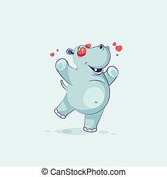 karakter, nijlpaard, liefde, spotprent, emoji