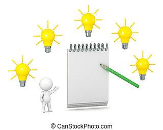 karakter, notepad, ideeën, 3d