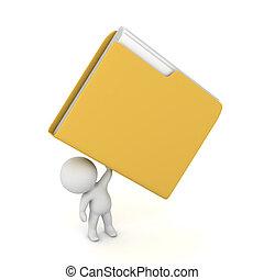 karakter, op, groot, vasthoudende folder, 3d
