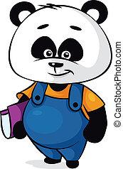 karakter, panda, spotprent