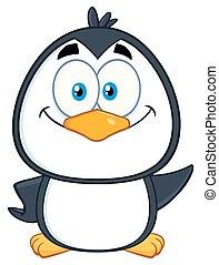 karakter, pingvin, smil, cute