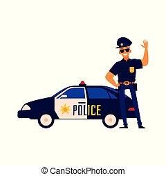 karakter, politie, spotprent, staand, auto., volgende, politieagent, vrolijke , vriendelijk